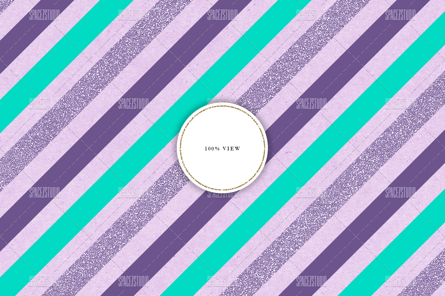 Mint, Purple & Glitter Tileable Geomteric Backgrounds example image 6