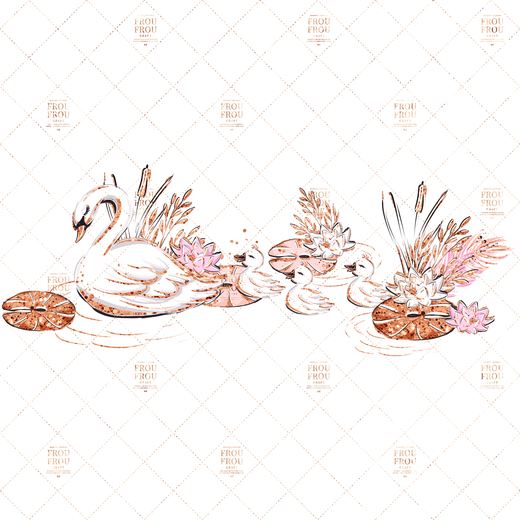 Swan Rose Gold Glitter Nursery Clip Art example image 6