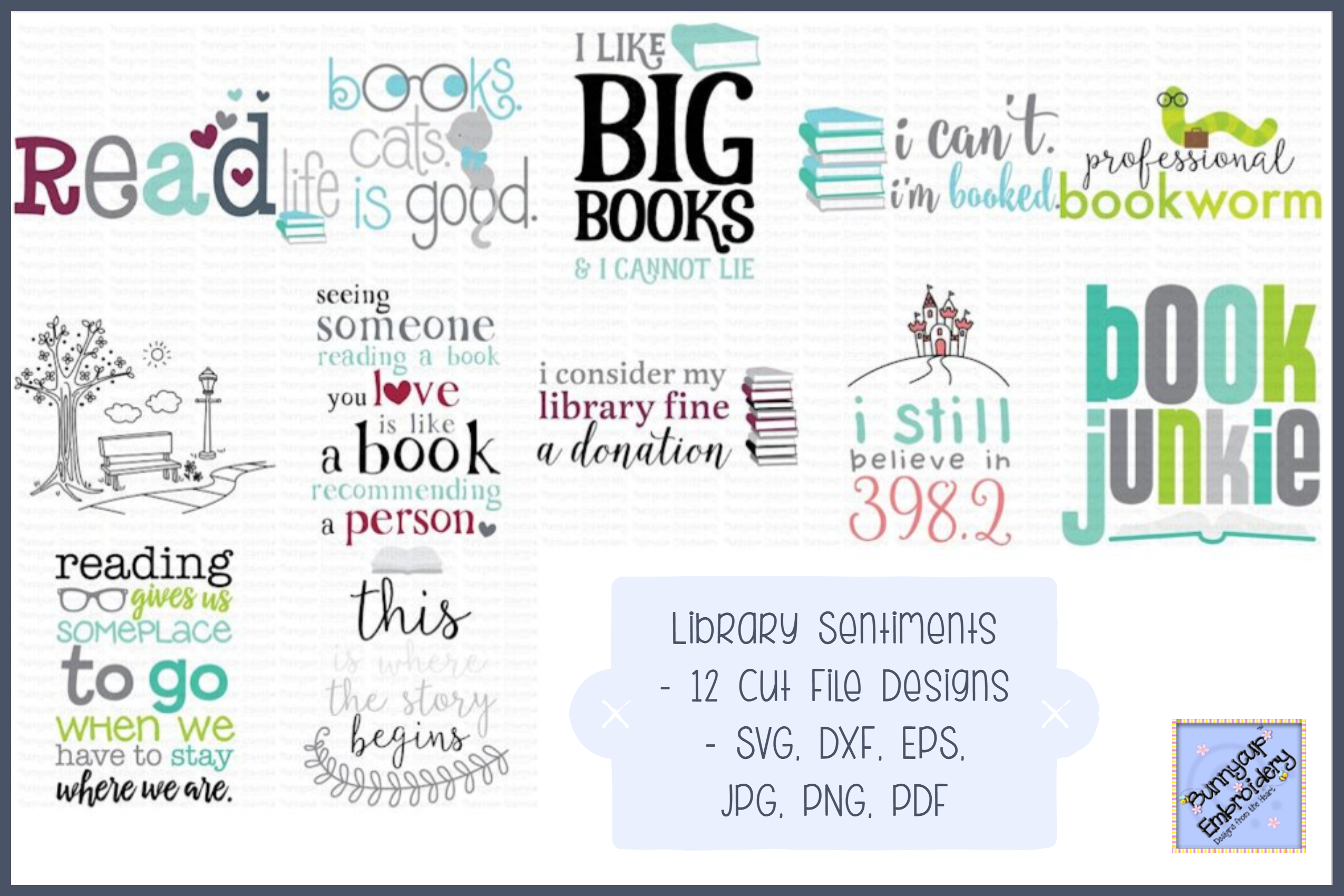 Library Sentiments Bundle - SVG, Clipart, Printables example image 1