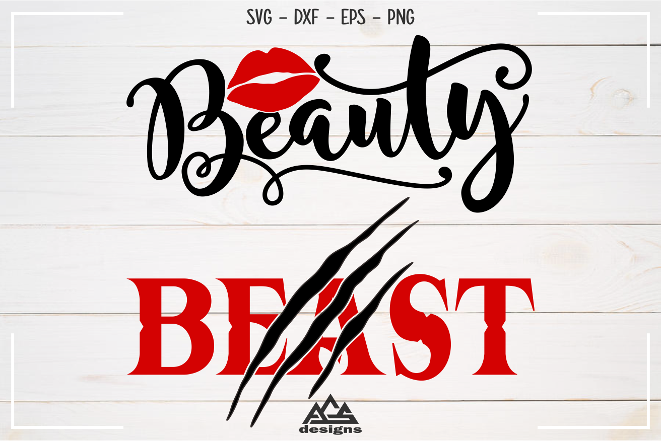 Beauty Beast Couple Valentine Svg Design example image 3