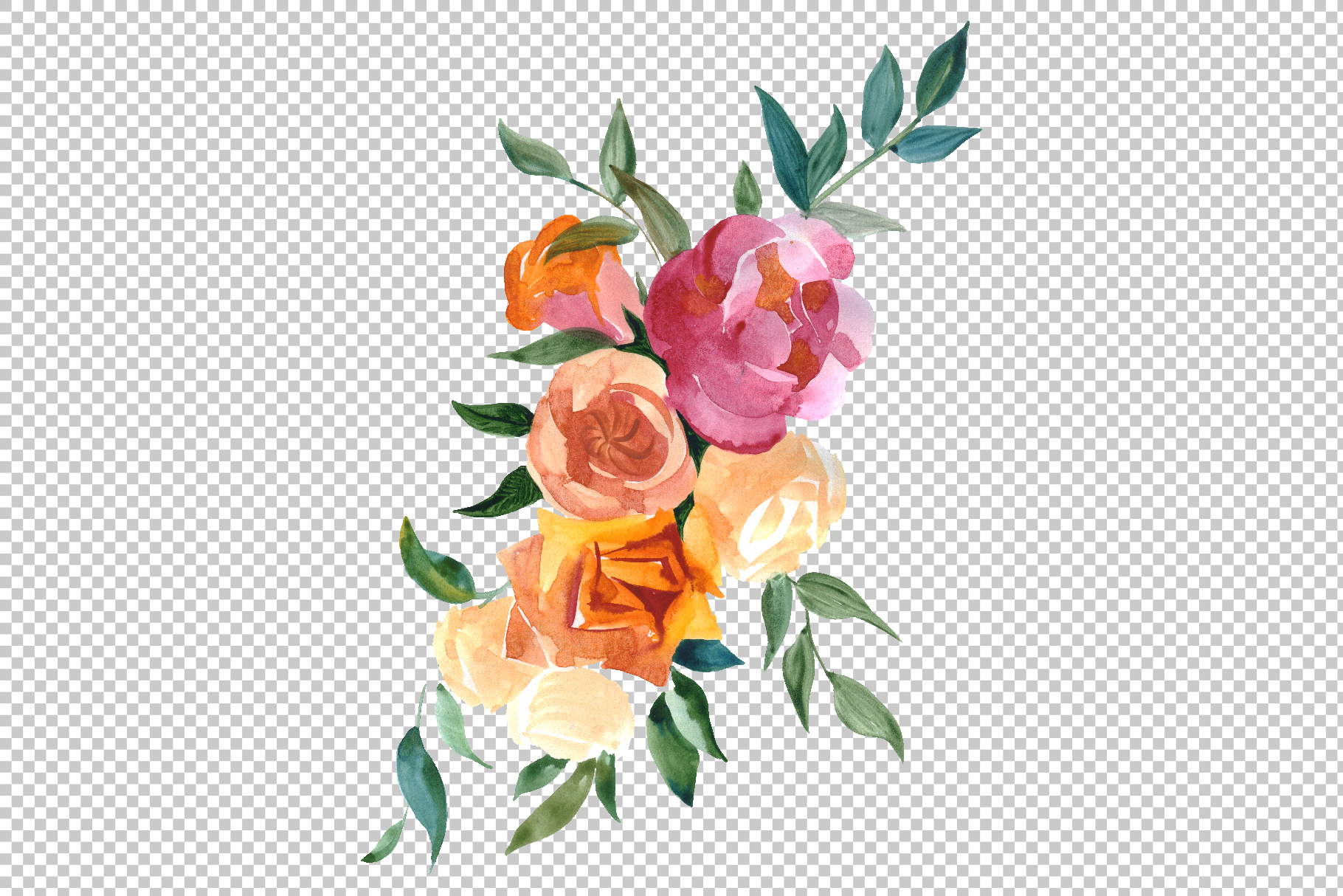 Bouquets with wildflowers, Roses, leaves Watercolor png example image 6