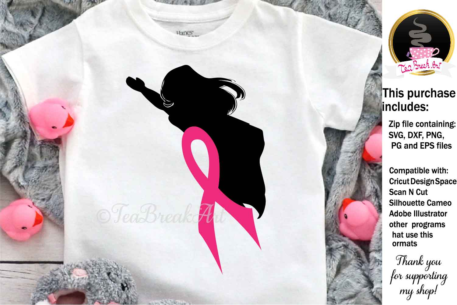 Superwoman Breast Cancer Awareness Cutting Files 1083 example image 1