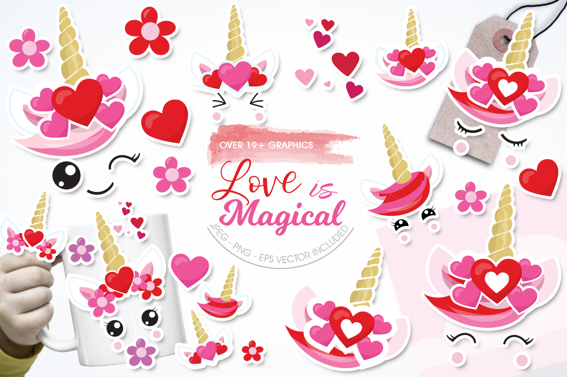 Love Unicorn faces graphic and illustrations example image 1