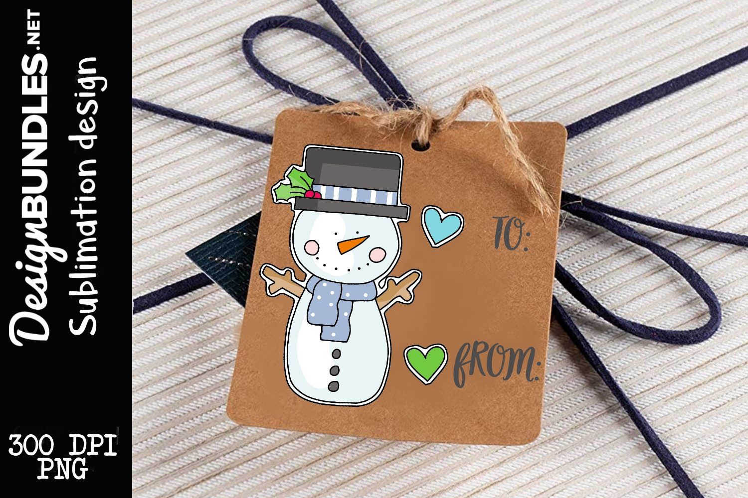 Silly Snowman Tag Sublimation Design example image 1