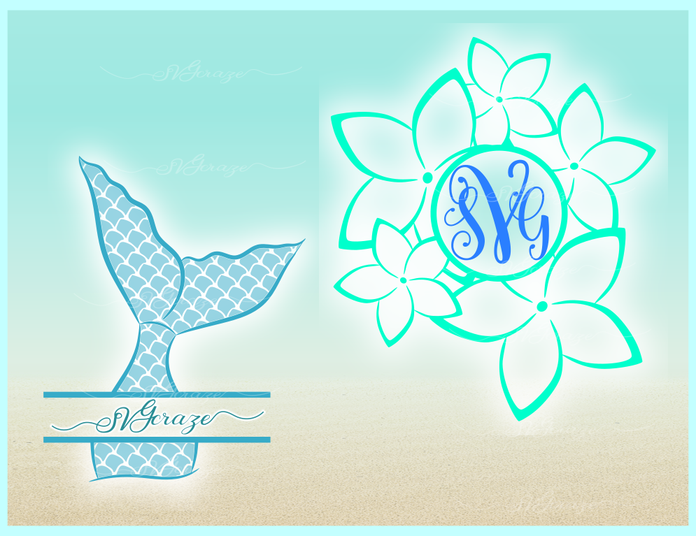 Mermaid Tail Monogram Svg Dxf Eps Png Pdf Files For Cricut example image 4
