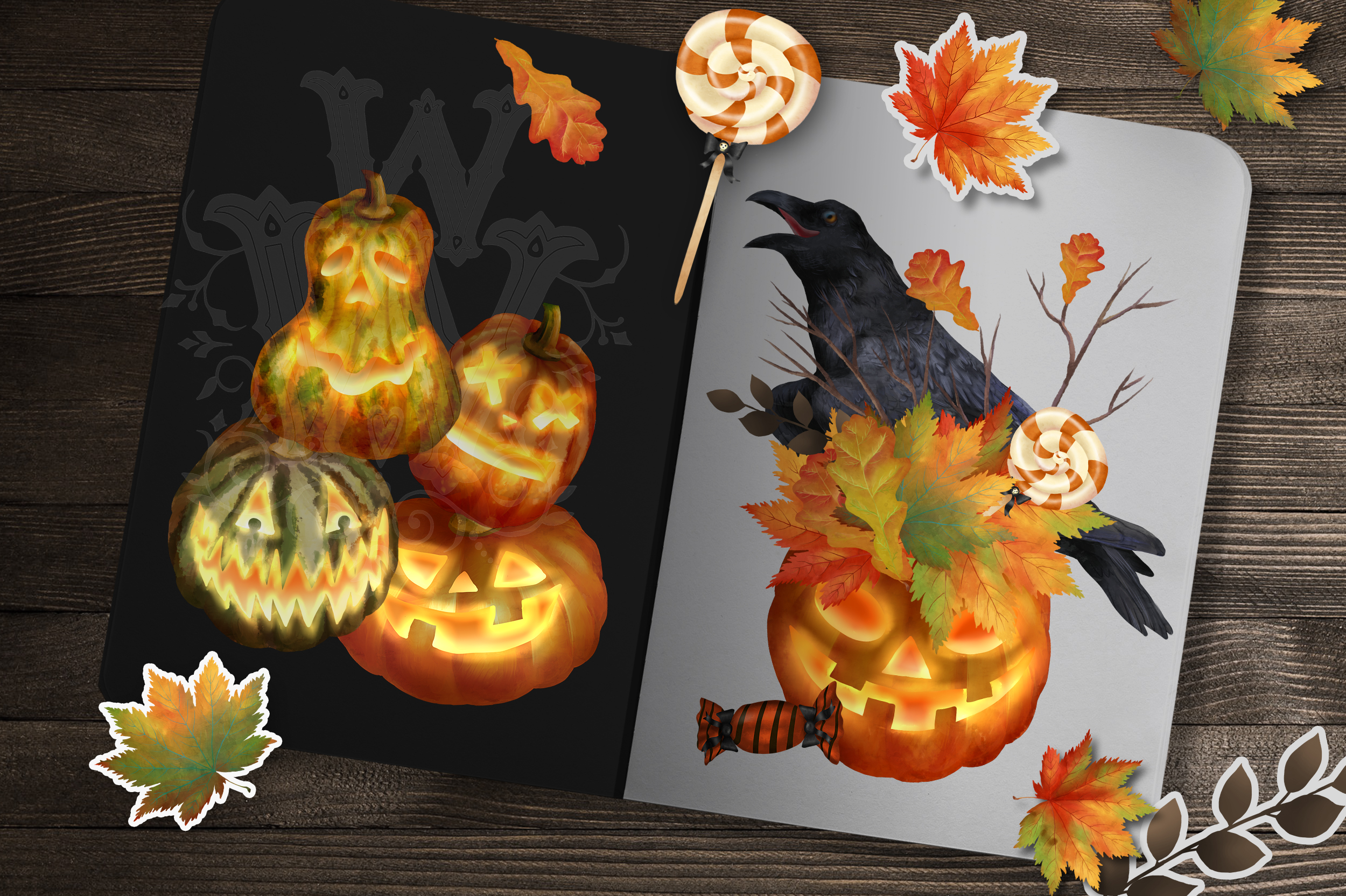 Halloween clipart set with raven pumpkin fall leaves sweets example image 3