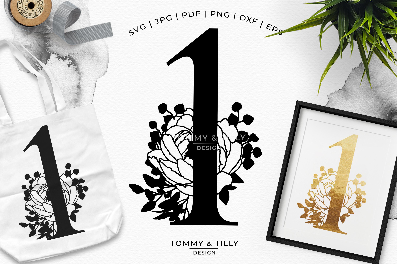 1 - Floral Bouquet Number Design - Paper Cut SVG EPS DXF PNG example image 1