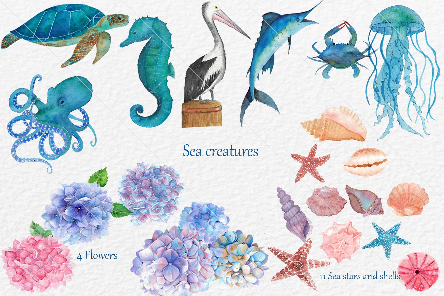 Watercolor Aquatic and Coastal Set example image 3