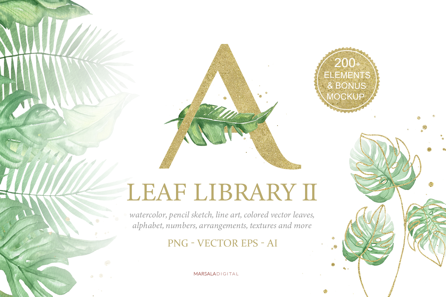 Greenery and Gold Leaf Library II example image 1