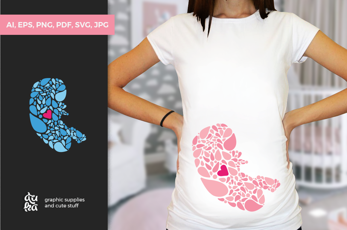 Pregnancy Announcement SVG Cut Files - Fetus First Heartbeat example image 1