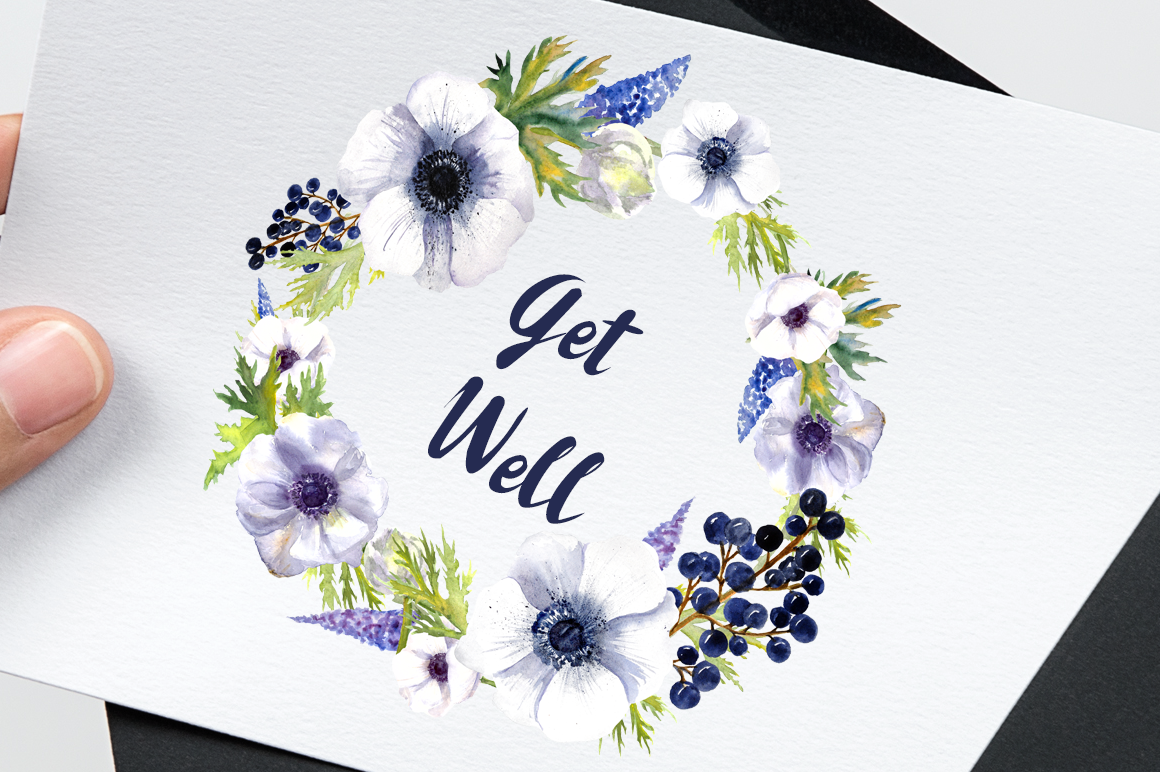 Watercolor Anemone Clipart Set example image 6