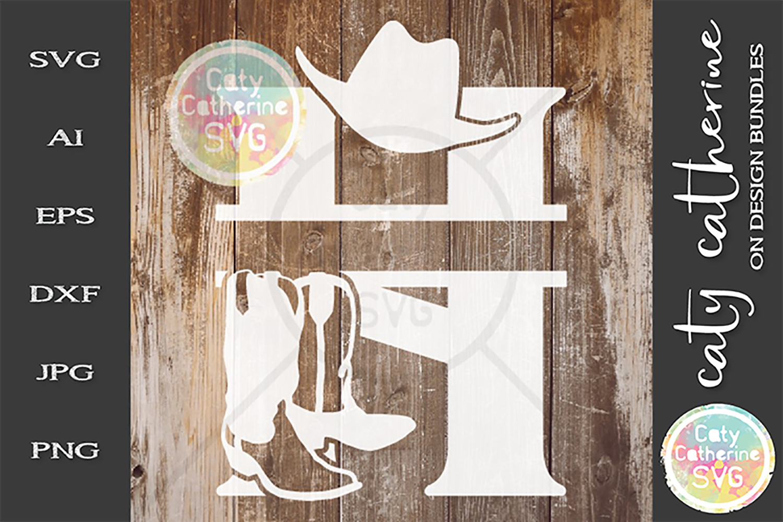 Letter H Cowboy Monogram SVG Includes Cowboy Boots example image 1