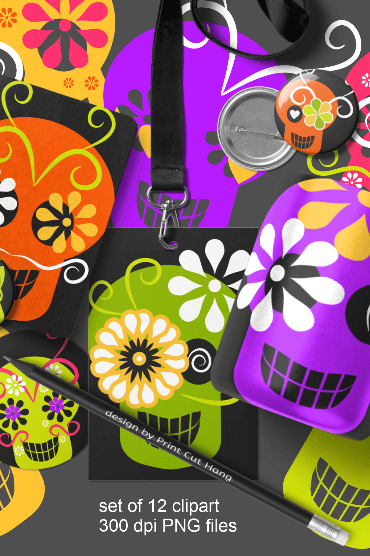 Skulls Clipart Set Kids Friendly Look PNG Files example image 6