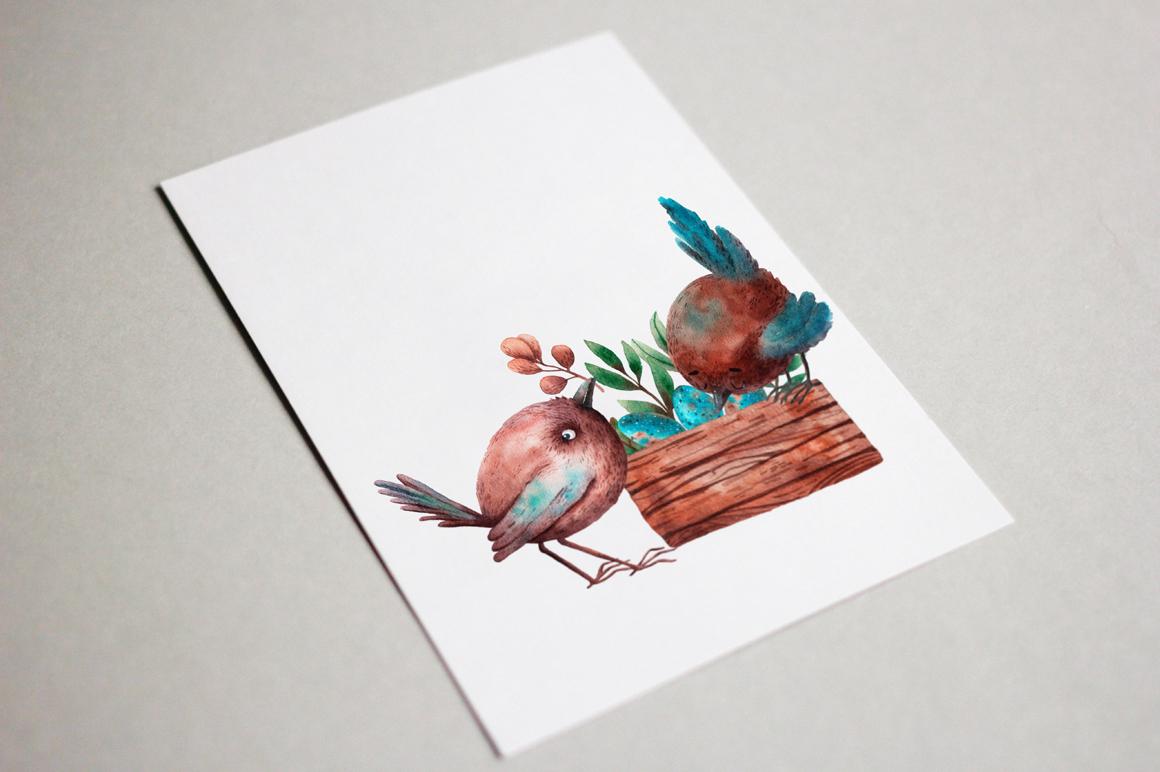 Tiny Birds - Watercolor Clip Art Set example image 10