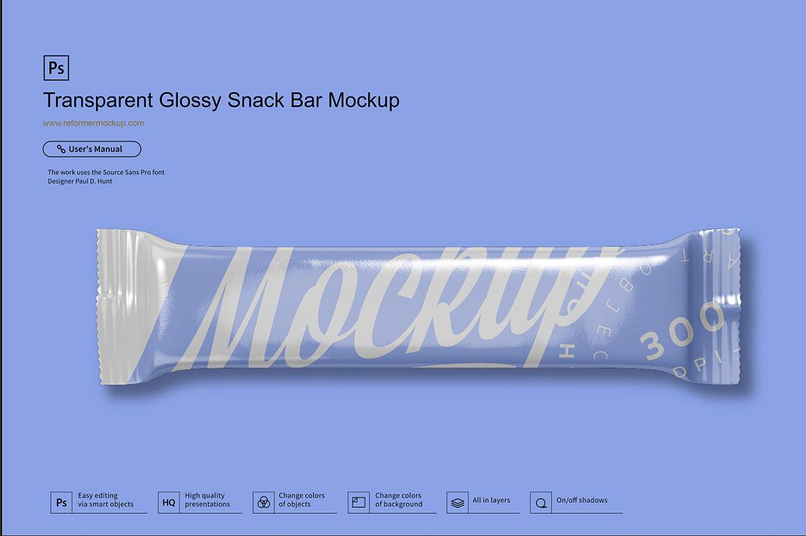 Transparent Glossy Snack Bar Mockup example image 2