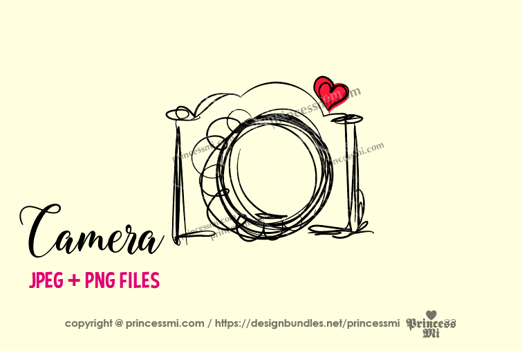 camera clipart - red heart example image 1