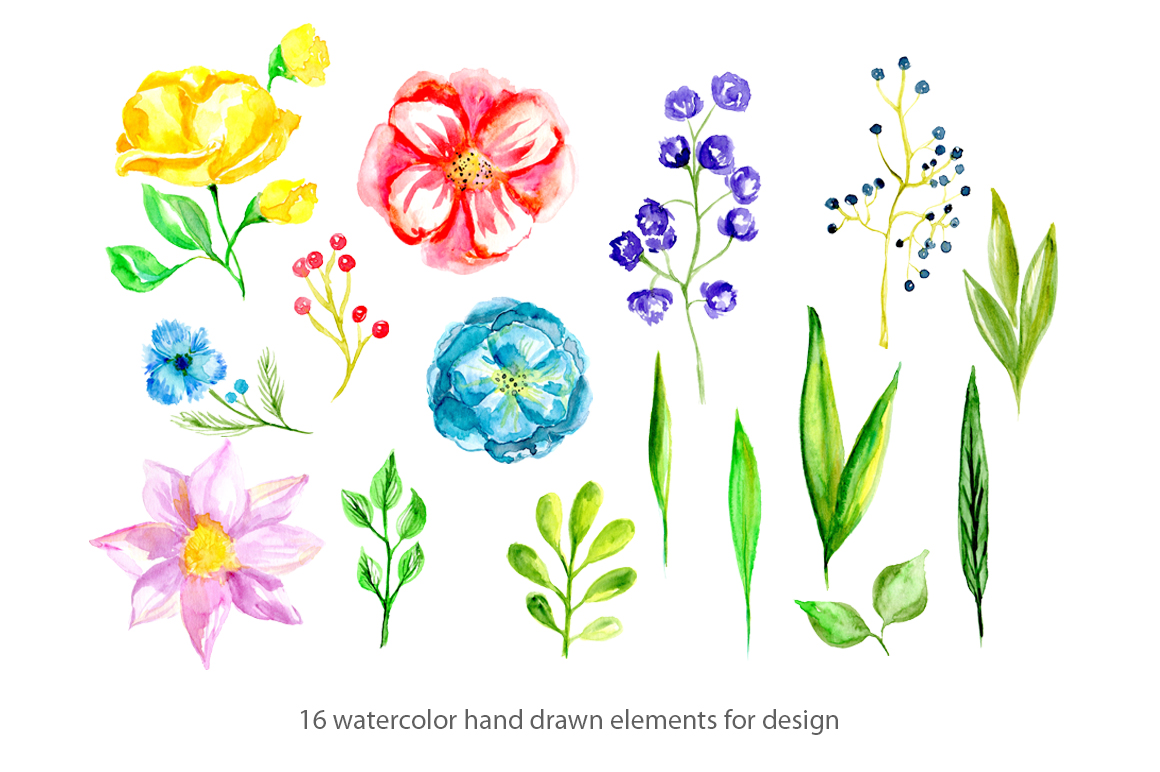 Watercolor spring bright flowers example image 2