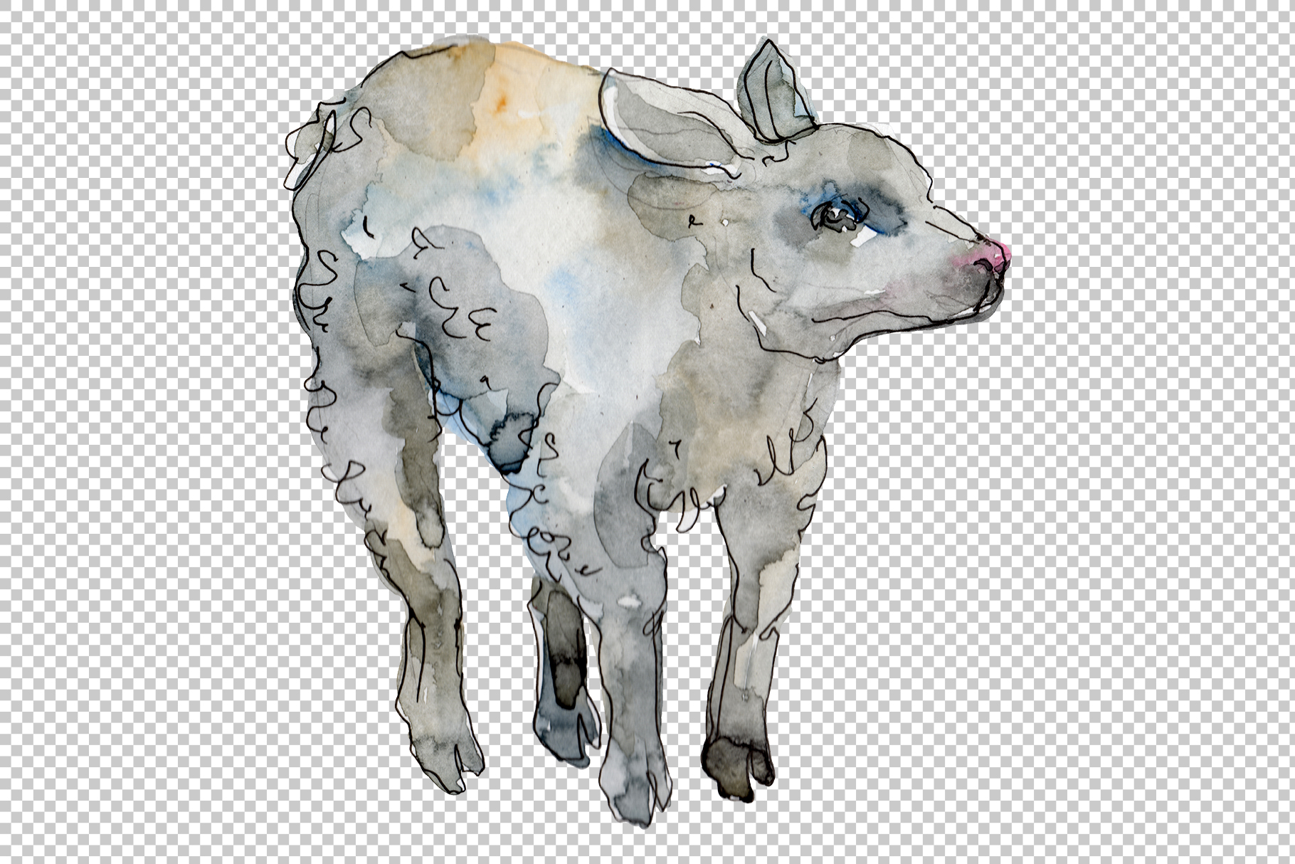 Farm animals lamb Watercolor png example image 3
