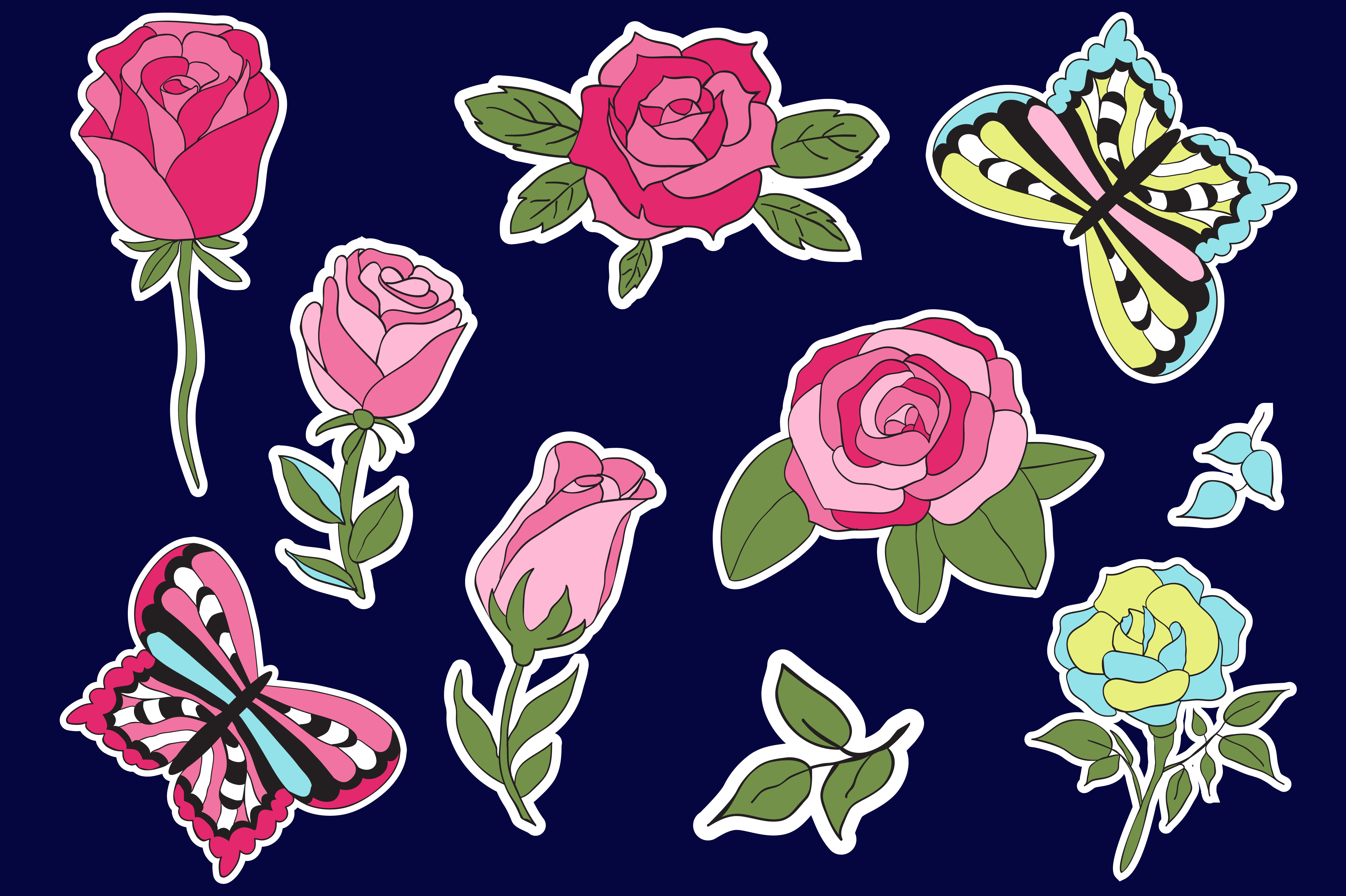 Roses and Butterflies Stickers example image 2
