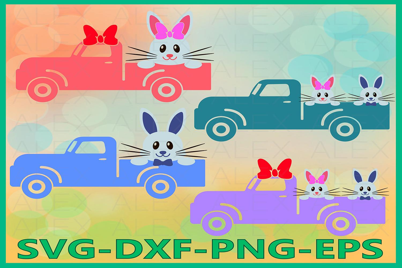 Easter Bunny Truck Svg, Easter Truck Svg, Easter SVG example image 1