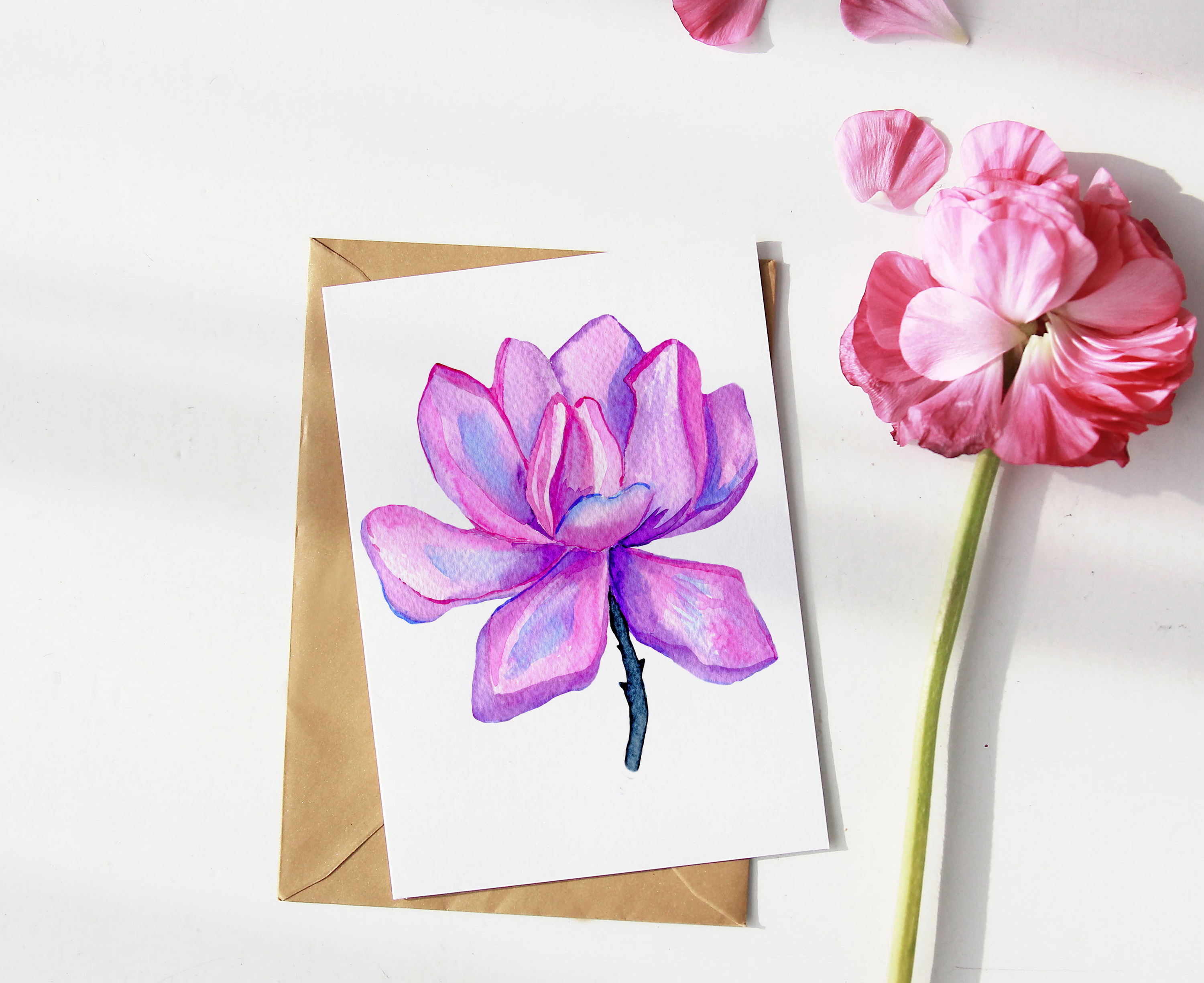 Watercolor Magnolia Flower - PNG Sublimation Design example image 2
