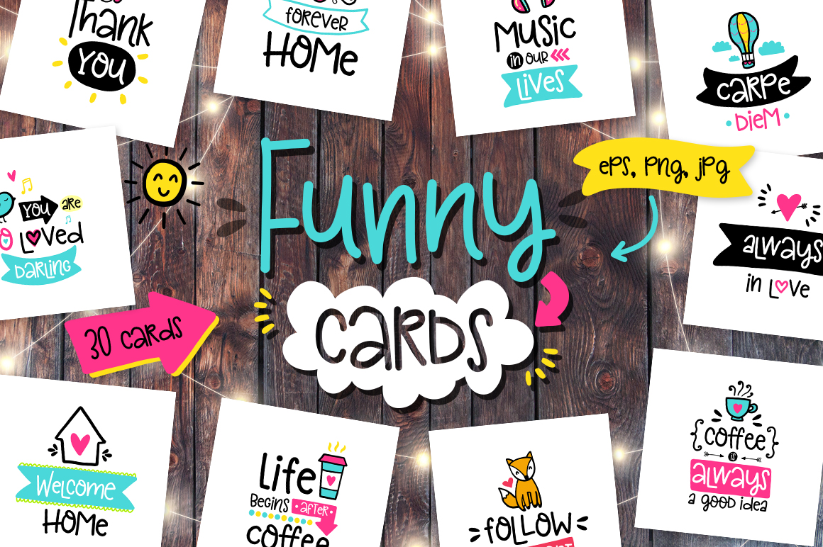 30 Funny Lettering Cards Collection example image 1