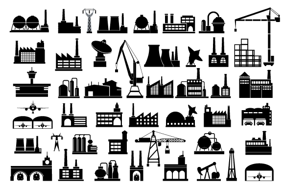 Industrial icon vector set example image 2
