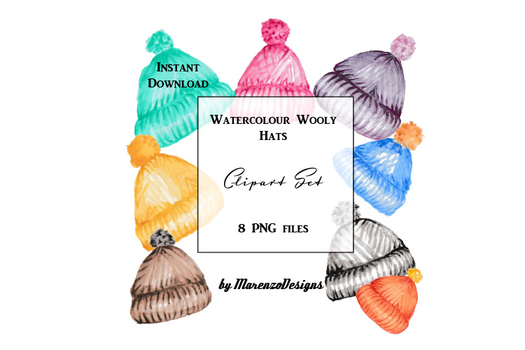 Watercolour woolly hats clip art set example image 1