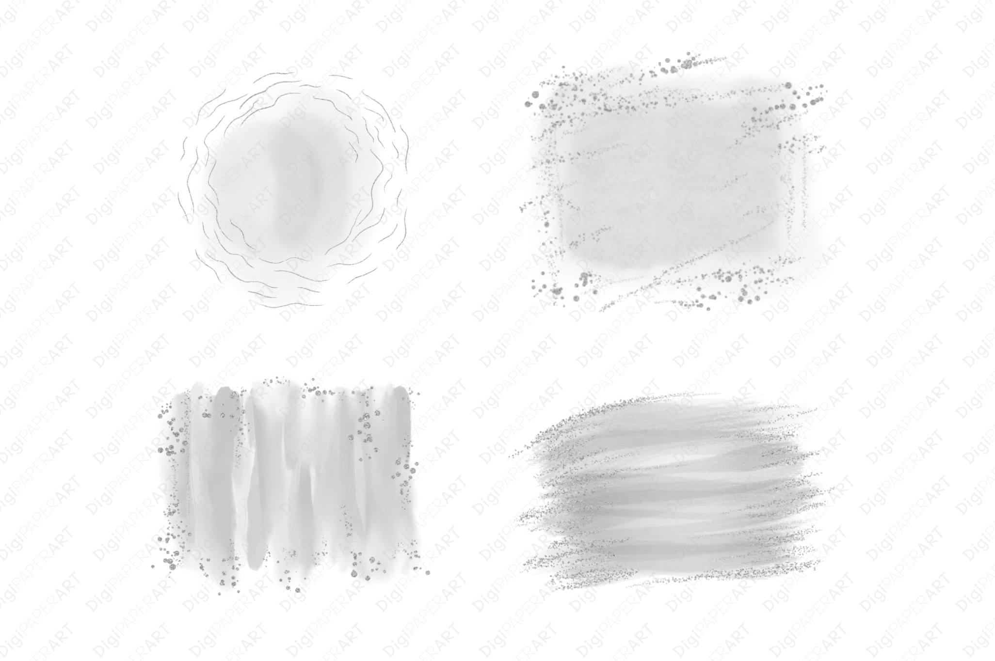 Silver Glitter and Grey Watercolor Backgrounds example image 2