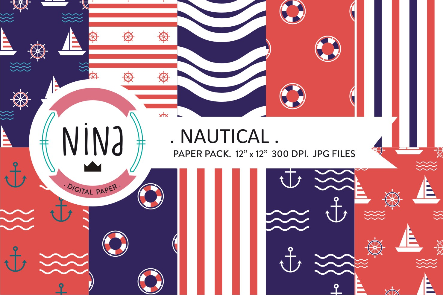 Navy digital paper, Nautical wrapping paper, Navy papers example image 1