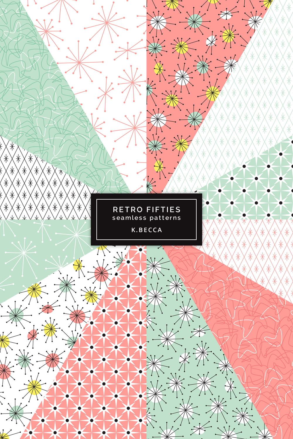 Retro 1950s Background Patterns Seamless example image 8