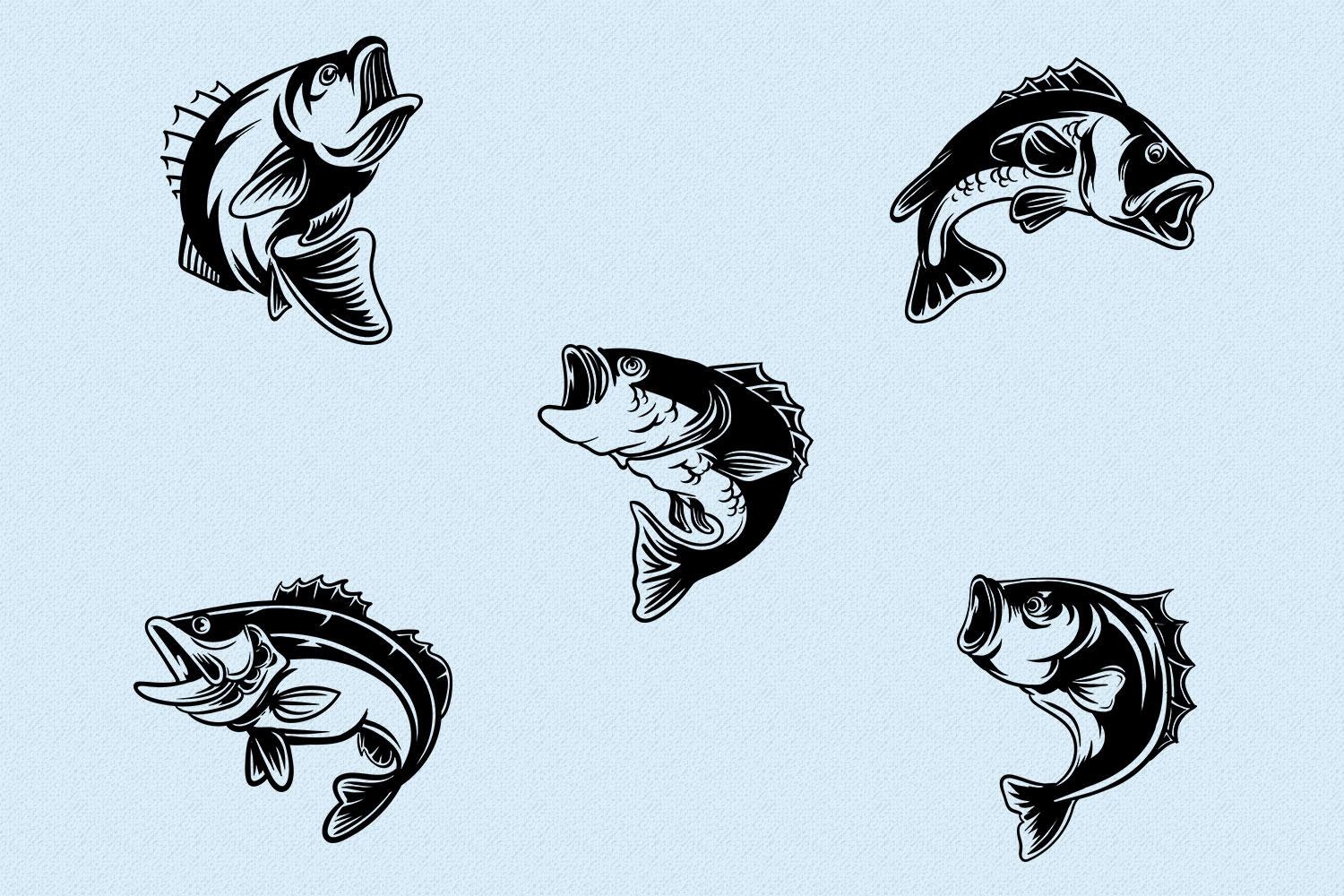 10 Bass Fish Vintage Illustration Collection in Vector example image 3