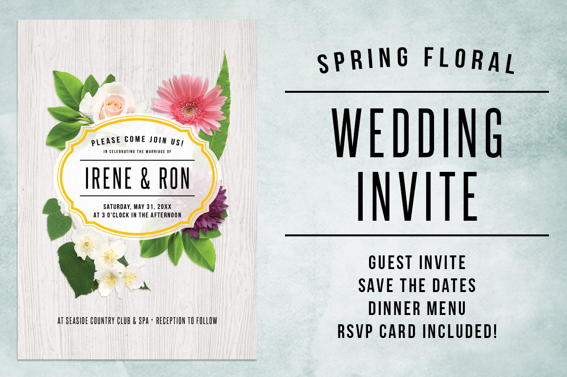 Spring Floral Wedding Invite Bundle example image 1
