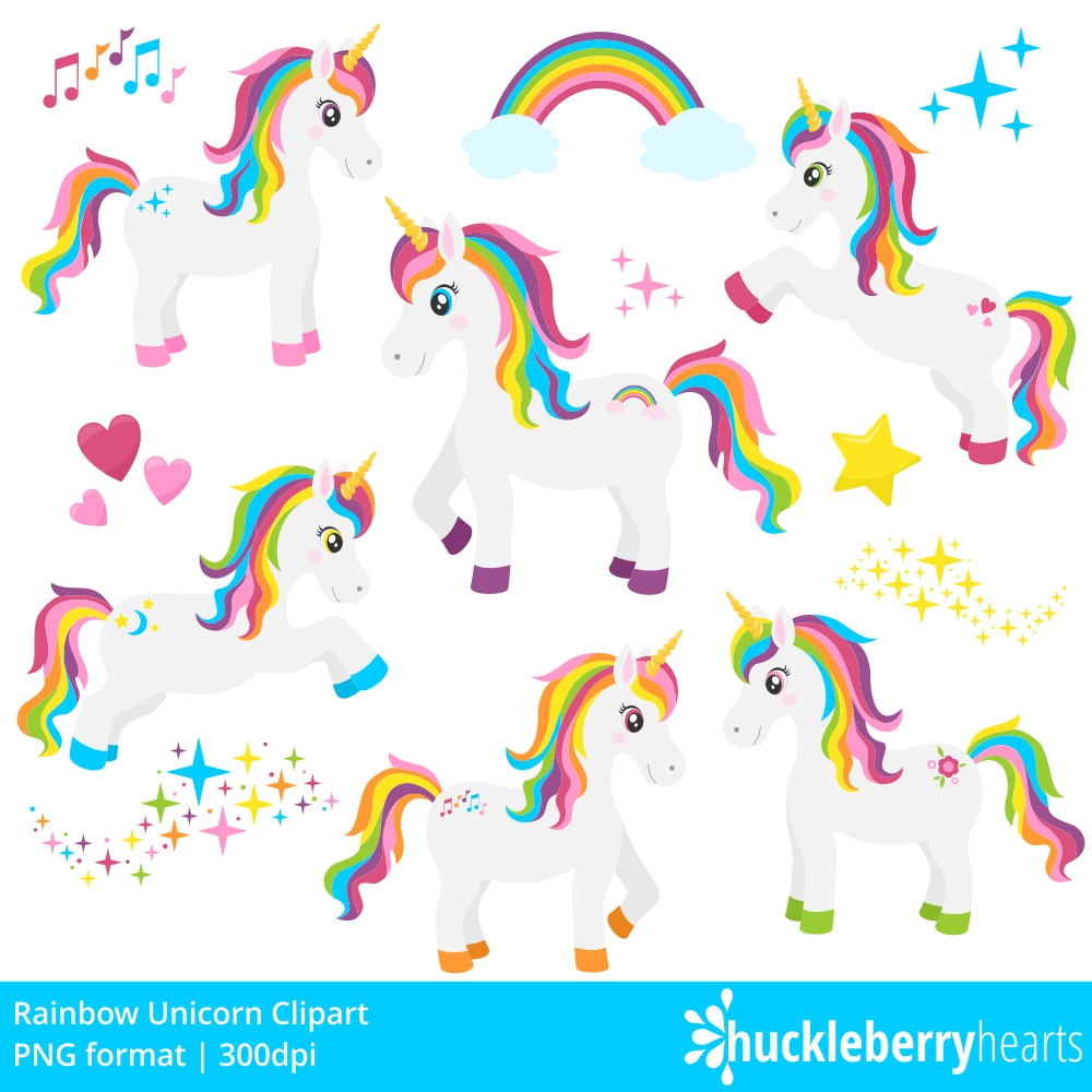 Rainbow Unicorn Clipart example image 3