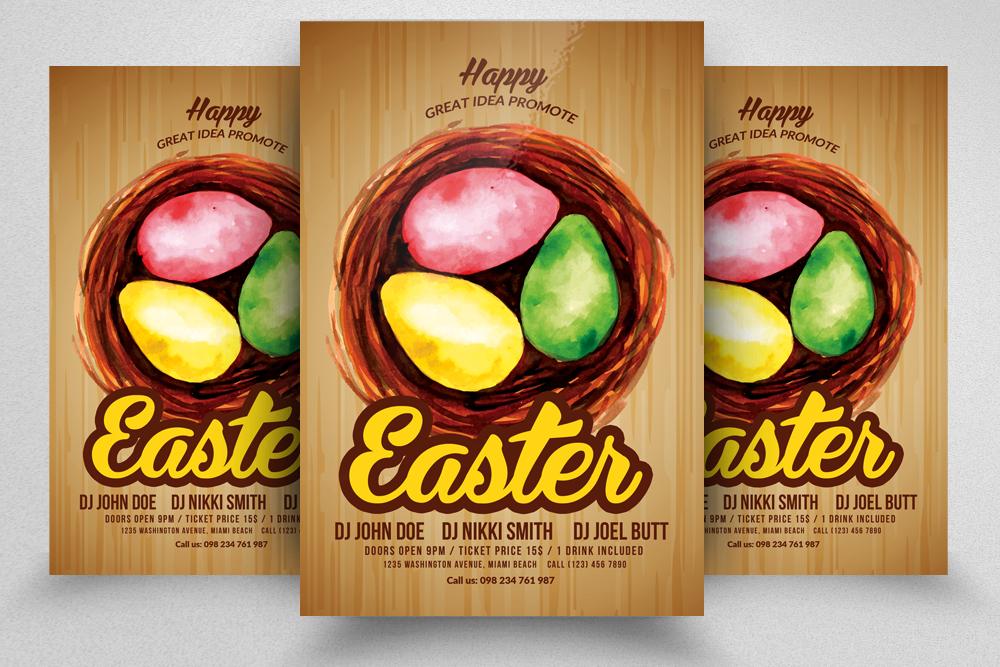 10 Easter Egg Psd Flyer Print Template Bundle example image 3