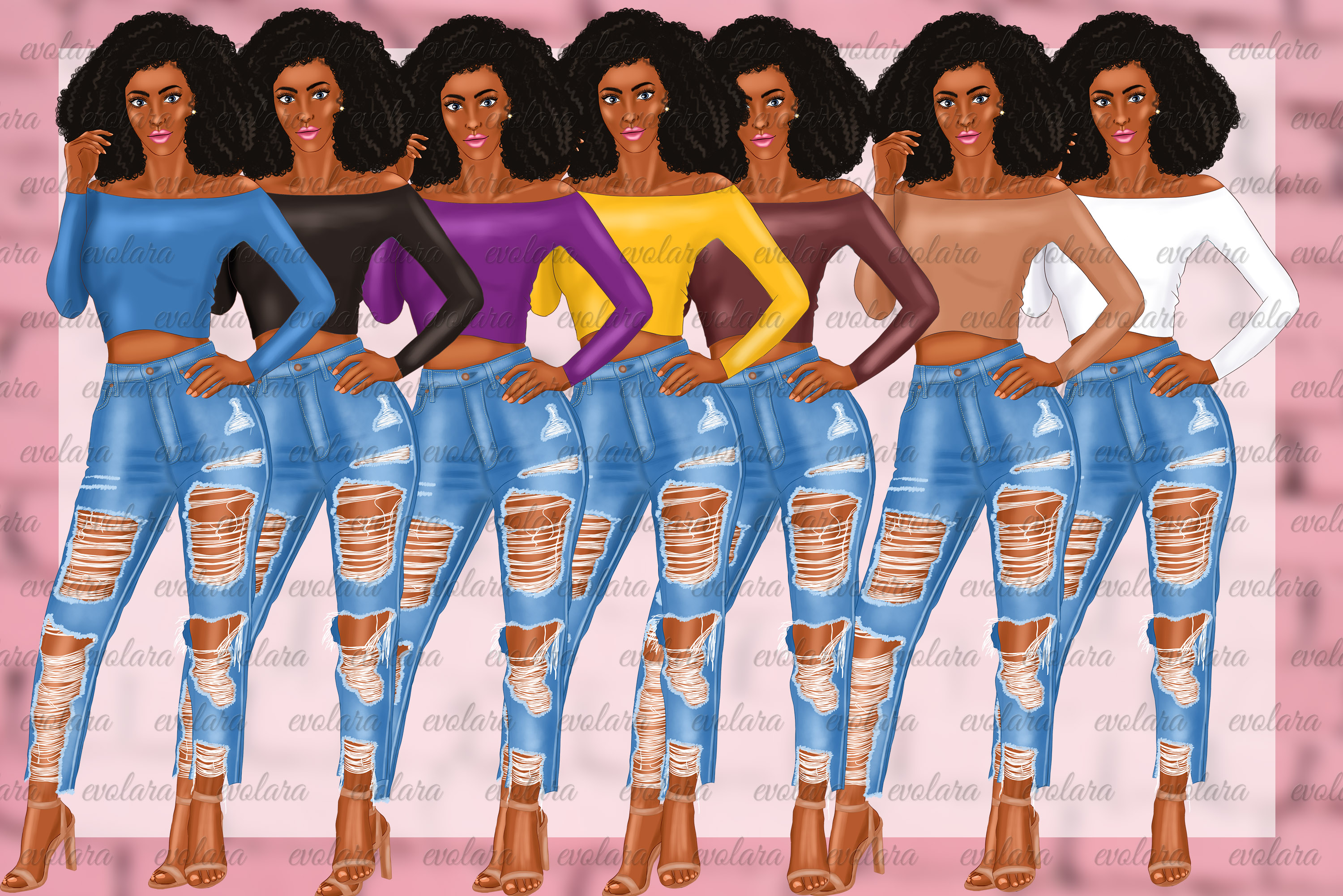 Ripped Jeans Fashion Girls Clipart African American Clipart example image 12
