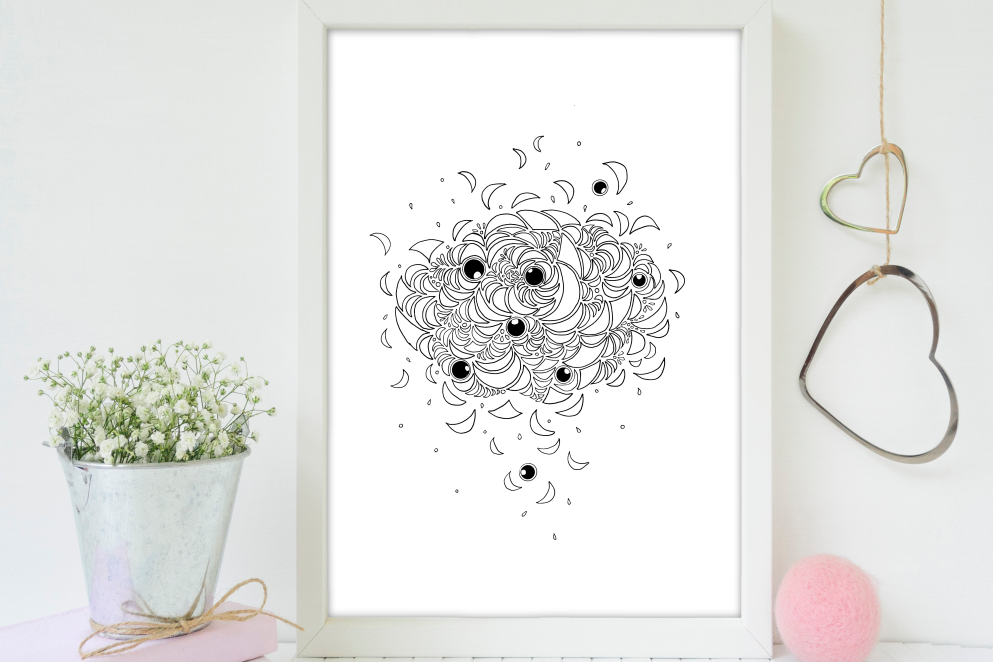 Abstract Illustration Black and White, A1, SVG example image 5