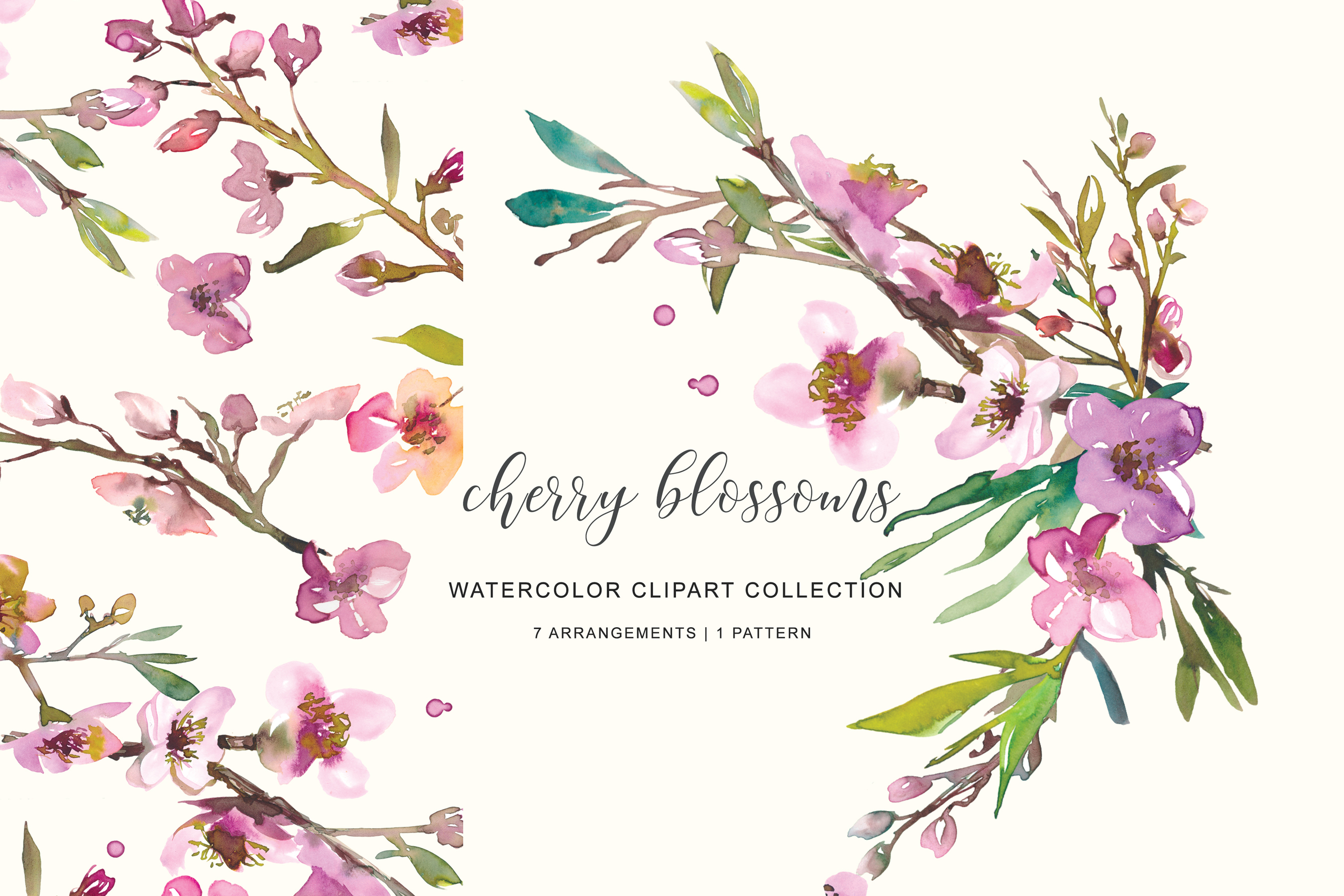 Hand Painted Watercolor Pink Cherry Blossoms example image 1