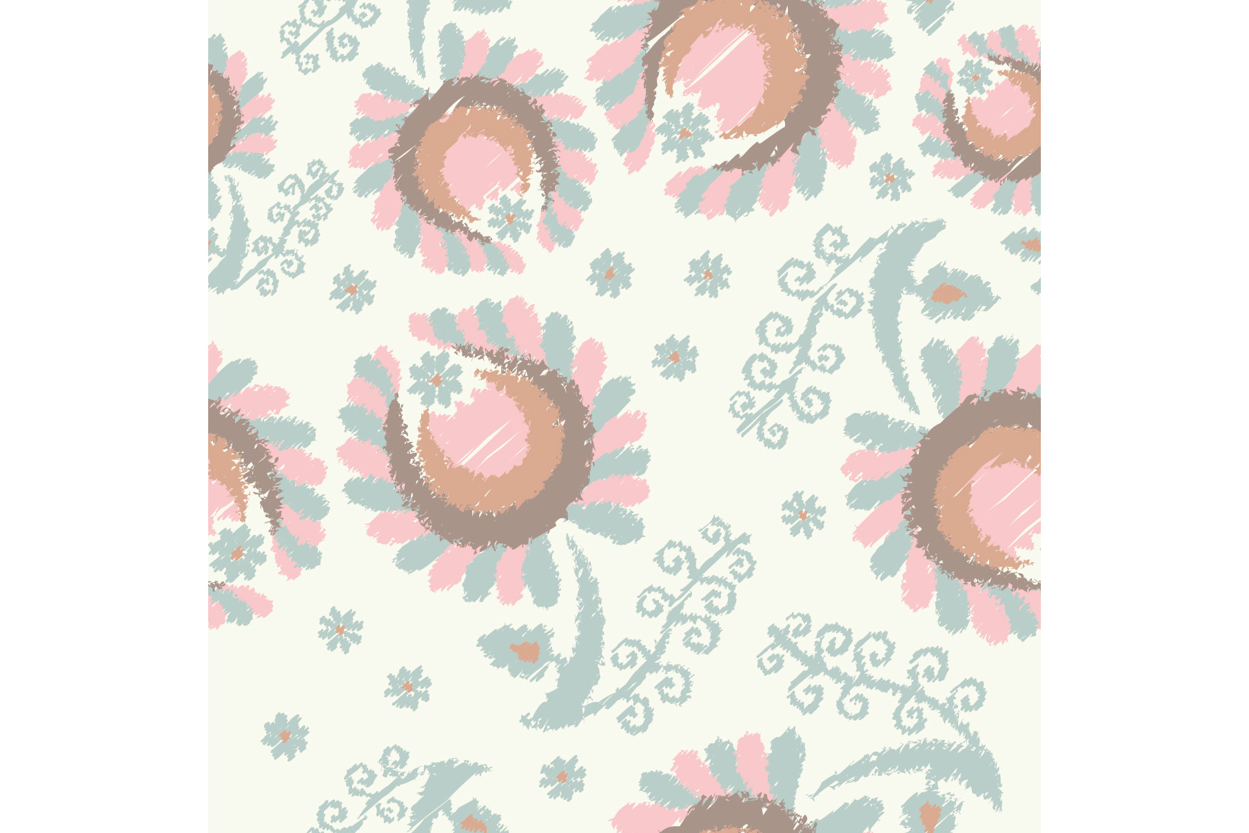 Set of 12 seamless pattern with decorative flowers.  example image 4