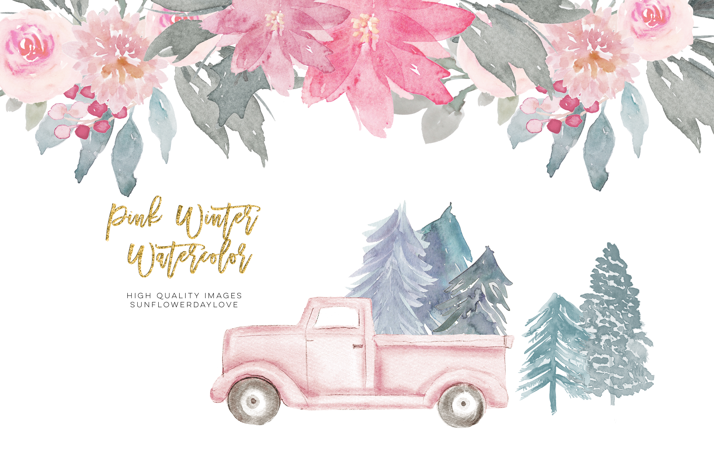 Pink Christmas clipart, floral Pink watercolor clipart example image 2
