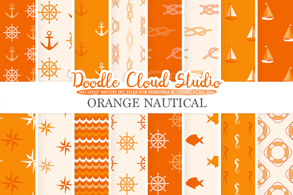 Orange Nautical digital paper, Seal patterns Ocean Steering wheel Sea waves Anchor background Instant Download for Personal & Commercial Use example image 1