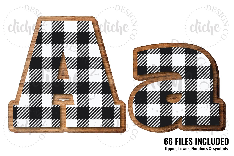 White Buffalo Plaid Wooden Alphabet Sublimation Set example image 1