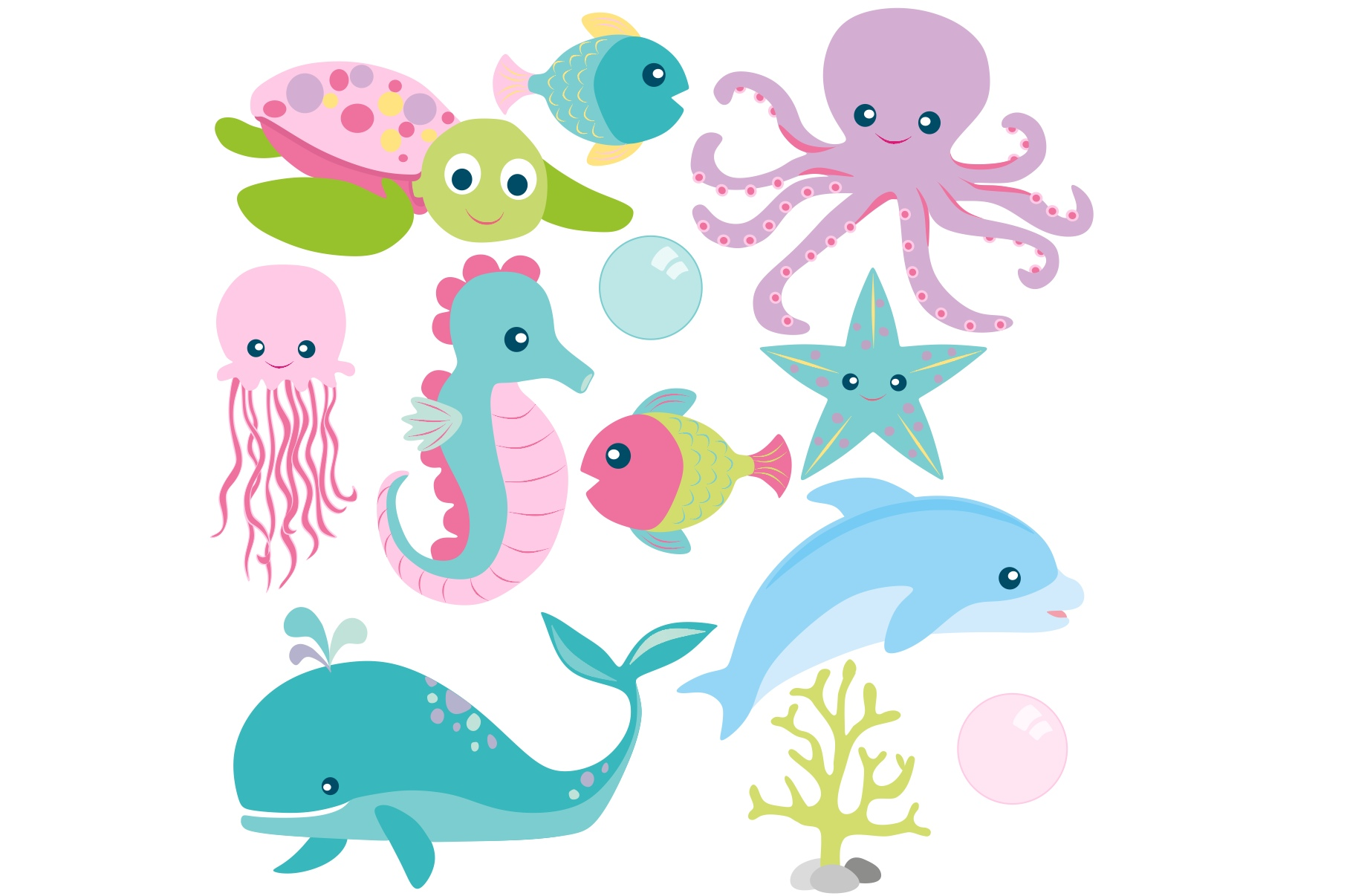 Girls Sea Animal Clipart and Digital Papers Set example image 2