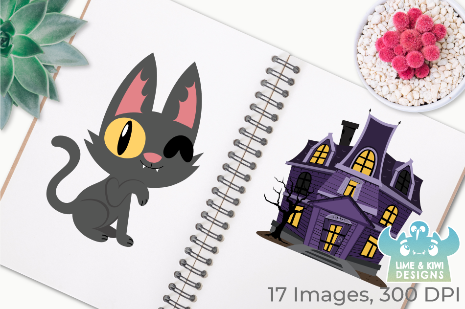 Halloween Cats 1 Clipart, Instant Download Vector Art example image 3