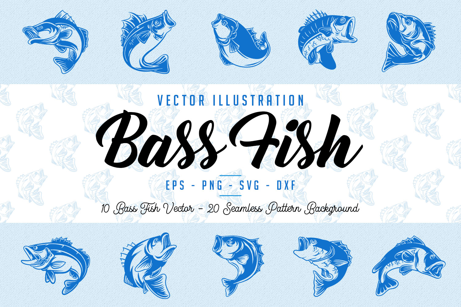 10 Bass Fish Vintage Illustration Collection in Vector example image 1