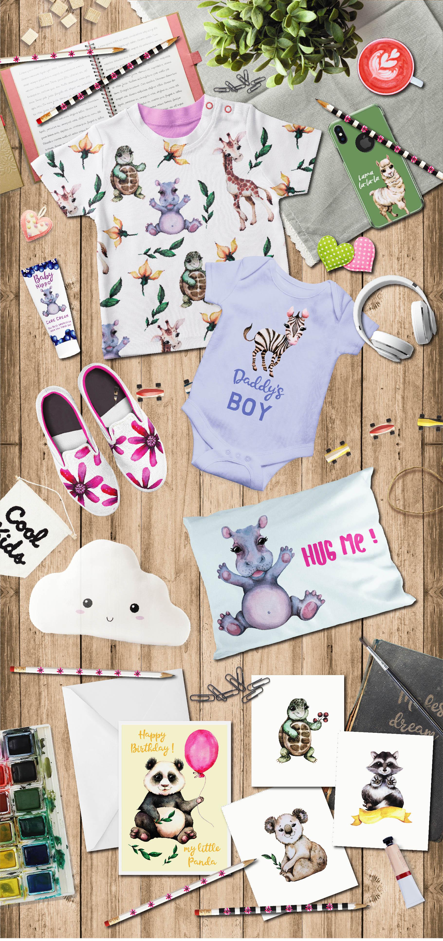 Baby animals. Cute watercolor zebra, hippo, lemur, tiger etc example image 5