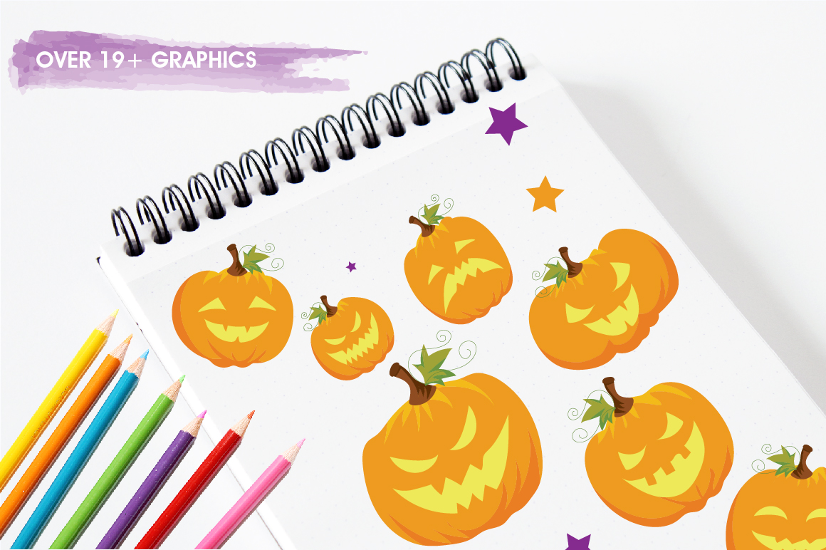 Halloween Pumpkins graphics and illustrations example image 3
