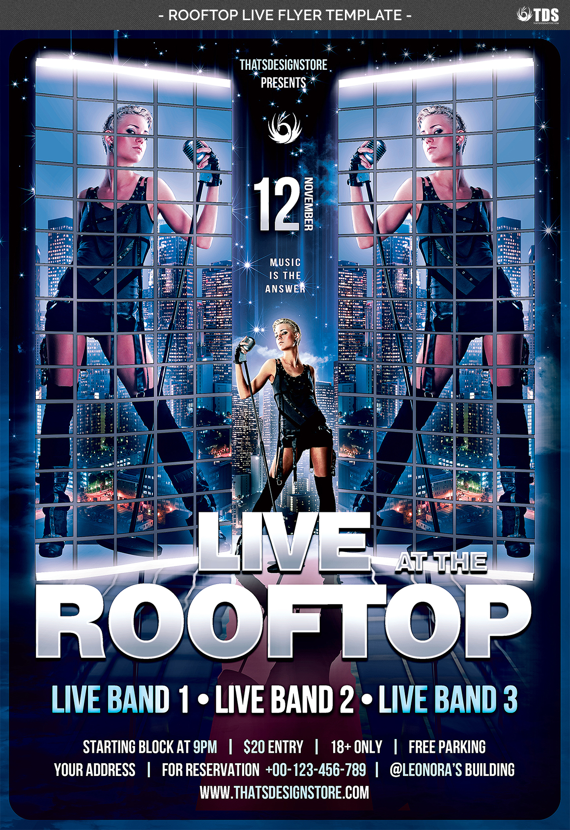 Rooftop Live Flyer Template example image 4