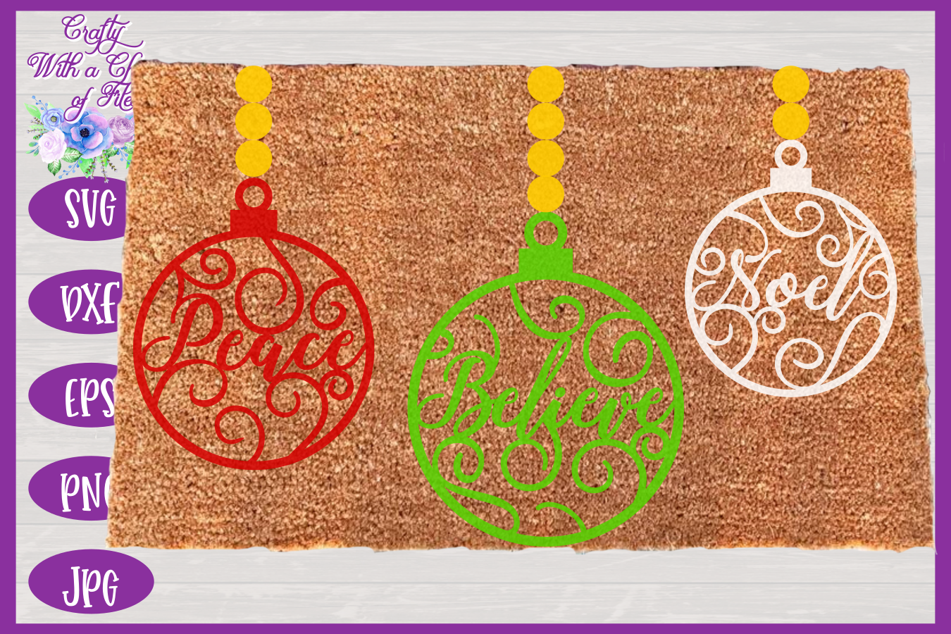 Christmas Word Ornaments SVG | Laser Cut Baubles SVG example image 2