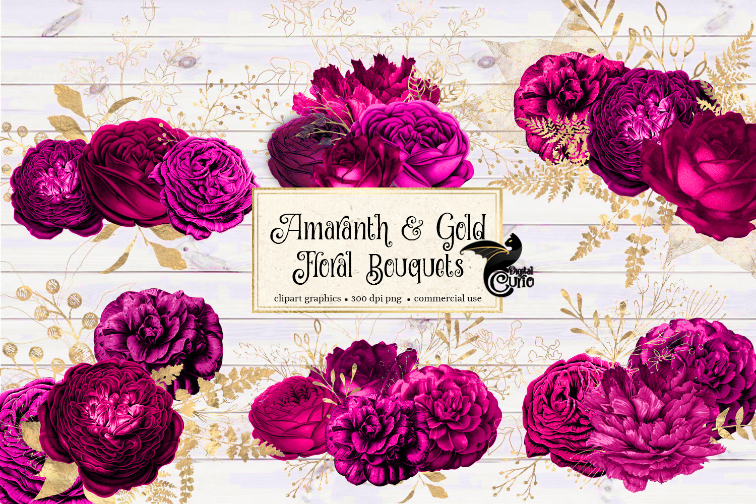Amaranth and Gold Floral Bouquets example image 1